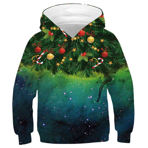 Kids Graphic Print Hoodies 3D Colorful Novelty Christmas Design Long Sleeve Sweaters