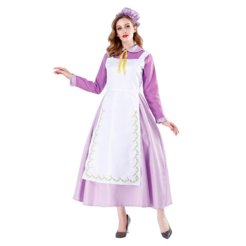 Women Halloween Victorian Long Apron Maid Costumes Dress