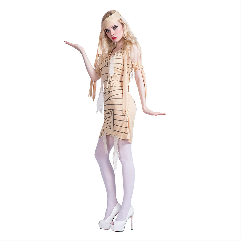 Women Personality 3D Style Mummy Halloween Cosplay Costumes Stage Performance Dress