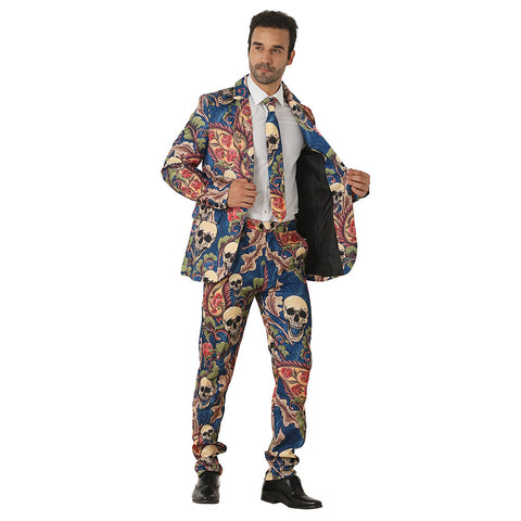 Halloween Men Crazy Party Costume Suit in Funny Goth Skull Designs – Comes with Jacket, Pants and Tie