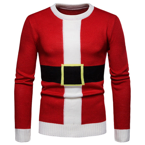 Men's Christmas Print Knitted Pullover Sweater Blouse