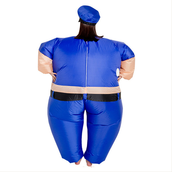 Adult Cop Inflatable Costume Blue Police Uniform Halloween Policewoman Jumpsuit Cosplay Fancy Dress