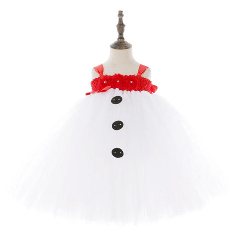 Kids Girls Snowman Tutu Dress Christmas Dress Outfit Tulle Girls Birthday Party Dress Kids Party Costumes