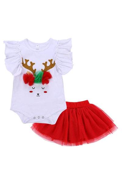 Baby Girls Lace Fly Sleeves Deer Romper with Tutu Skirt