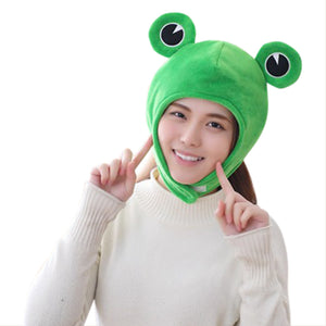 Plush Frog Hat Cap Frog Ears Costume Fuzzy Furry Animal Hats Party Photo Booth Props for Kids and Adults