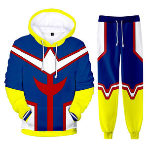 Unisex My Hero Academia Hoodie Pants Set All Might Cosplay Costume 3D Print Sweatshirt Outfits