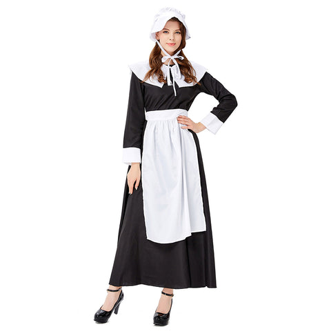 Women's Halloween Cosplay Costume French Apron Maid Fancy Dress Manor Maid Uniform