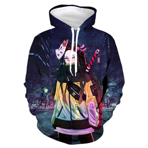 Anime Demon Slayer: Kimetsu no Yaiba Hoodies Kamado Nezuko Printed Hoodie Pullover Sweatshirts Tracksuits Clothes