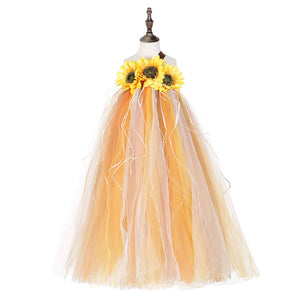 Girl's Sunflower Pumpkin Dress Halloween Fancy dress up Tutu Dress Cosplay Costume