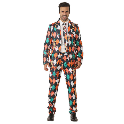 Halloween Men Crazy Party Costume Suit in Funny Scary Clown Designs – Comes with Jacket, Pants and Tie