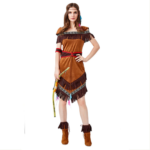 Women's Halloween Costume Hide Huntress Archer Tribal Native American Indian Princess Outfit