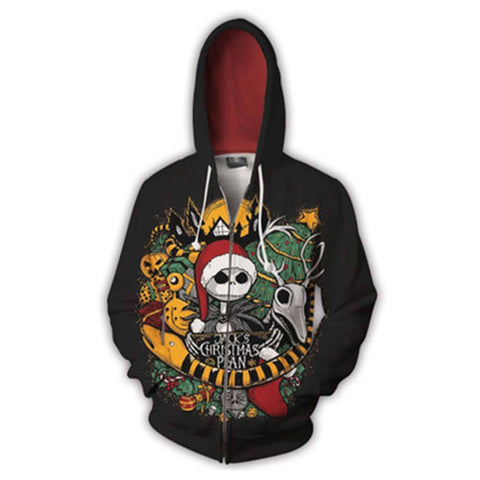 Unisex The Nightmare Before Christmas Hoodies 3D Print Zip Up Sweatshirt Outfit Cosplay Casual Outerwear