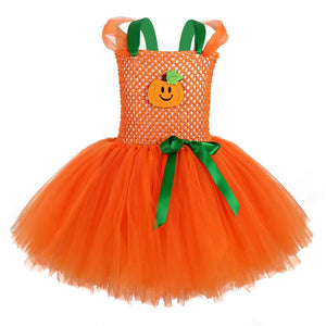 Girl's Pumpkin Makeup Tutu Dress Halloween Children's Dress Cute Ghost Festival Cosplay Costume