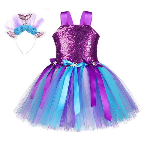 Princess Girls Mermaid Tutu Dress Kids Sparkle Sequin Purple Starfish Birthday Party Dresses Halloween Costume