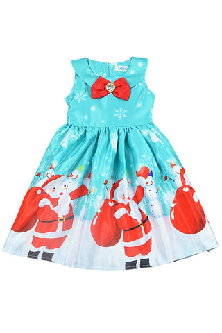 Baby Girls Santa Claus Printed Bowknot Christmas Princess Sleeveless Skirt