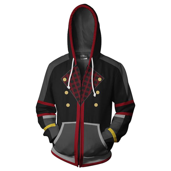 Unisex Sora Hoodies Kingdom Hearts Zip Up 3D Print Jacket Sweatshirt Style B