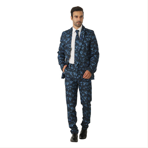 Halloween Men Crazy Party Costume Suit in Funny Alien Designs – Comes with Jacket, Pants and Tie