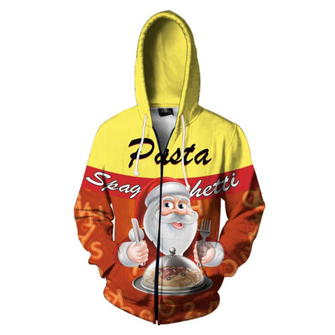Unisex Santa Claus Hoodie Pasta Spaghetti Printed Zip Up Jacket Christmas Cosplay Costume