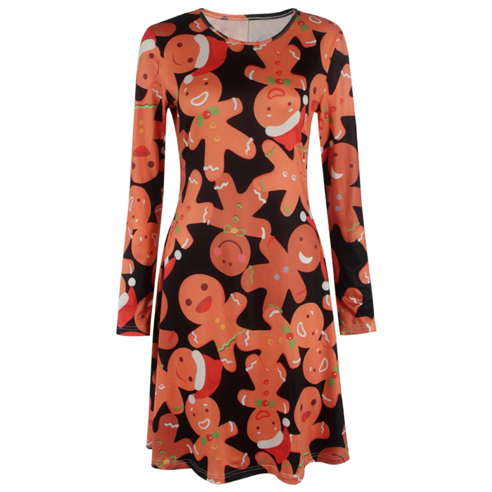 Women's Christmas Gingerbread Print Pullover Flared A Line Dress
