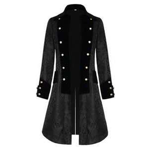 Men Jacket Steampunk Coat Outfits Vintage Gothic Tops Floral Print Coat Outerwear Casual Warm Jacket