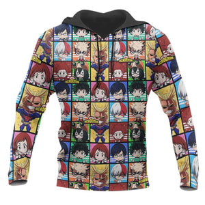 Anime My Hero Academia Hoodies Character Collection Hooded Sweatshirt Casual Streetwear Pullover Hoodie