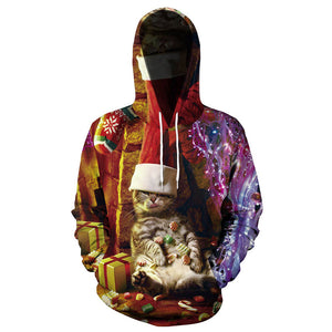 Unisex Christmas Hoodies 3D Print Pullover Sweatshirt Outfit Cute Cat Printed Casual Outerwear