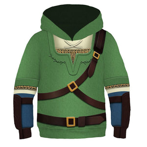 Kids The Legend of Zelda Hoodies Link Cosplay Hooded Sweatshirt Casual Pullover Hoodie