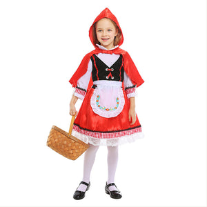 Girls Little Red Riding Hood Halloween Costume Knee Length Skirt and Removable Hood Cape
