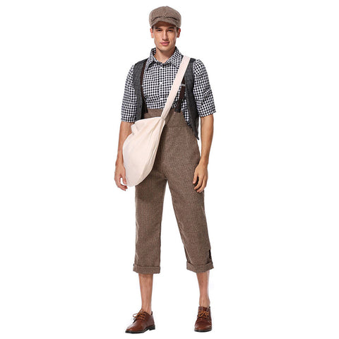 Men Halloween Newsie Cosplay Costume Fancy Stage Performance Outfit