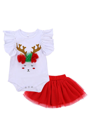 2pcs Christmas Tutu Dress Set Baby Girls Romper