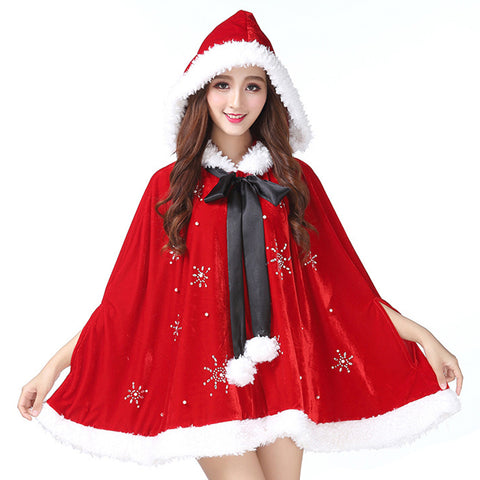 Women Christmas Mrs. Santa Claus Cardigan Velvet Hooded Short Cape Cloak
