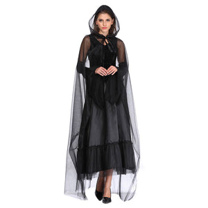 Women Halloween Black Witch Ghost Death Costumes with Chiffon Hooded Cloak Costume Set