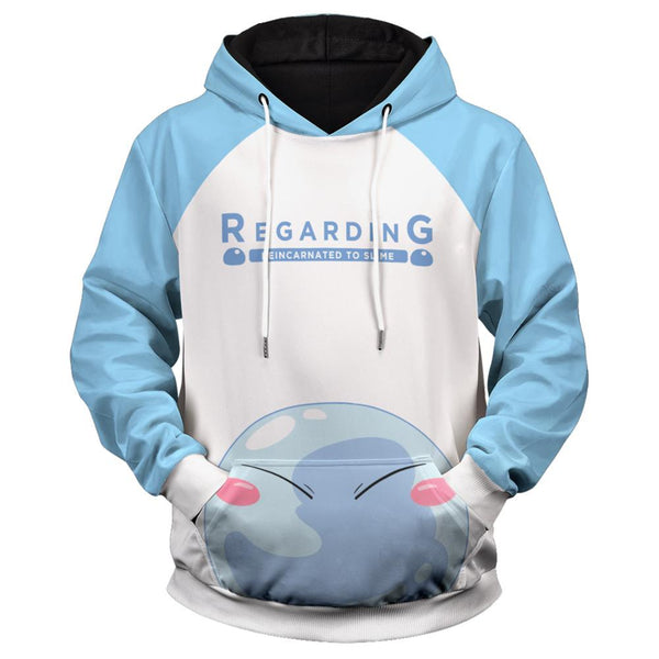 Anime That Time I Got Reincarnated as a Slime Hoodies Rimuru-Tempest Printed Hooded Sweatshirt Casual Pullover Hoodie