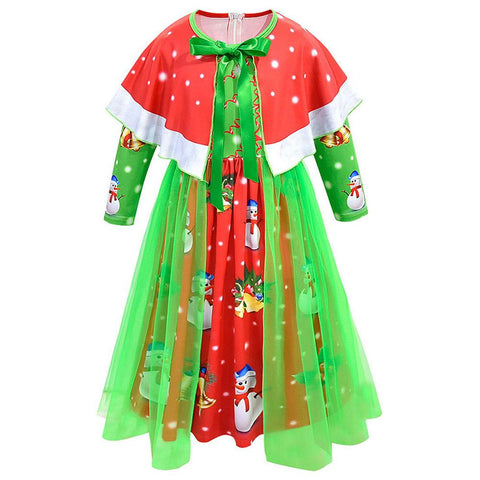 Girls Christmas Snow Santa Dress with Cape Birthday Party Kids Gown Holiday Girls Clothing
