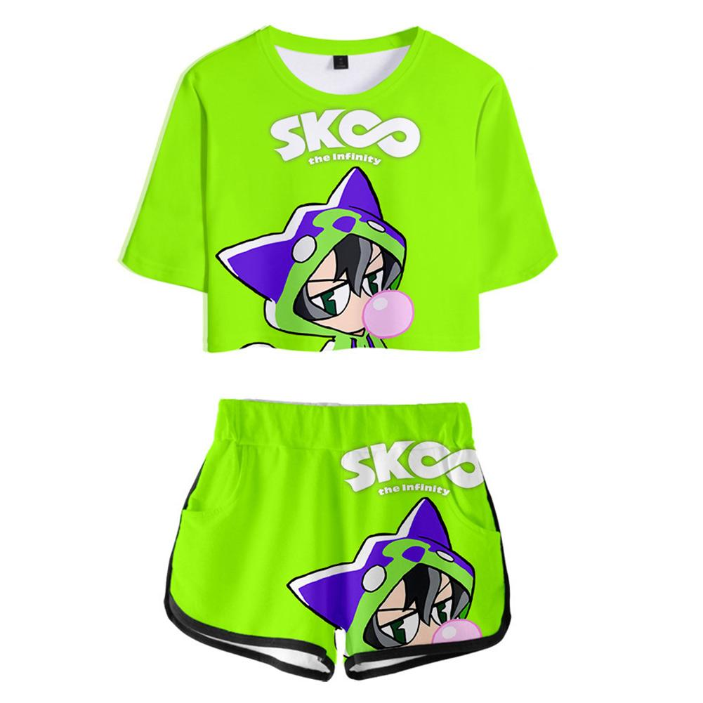 Women Anime SK8 the Infinity Cosplay Crop Top & Shorts Set Summer 2 Pieces Casual Clothes