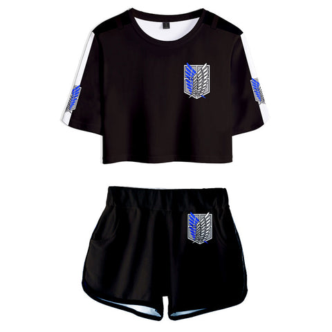 Women Attack on Titan Crop Top Sets Survey Corps Cosplay Short Sleeve T-shirt Shorts 2 Pieces Sets Casual Clothes
