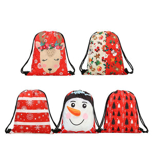 5-Pack Christmas Drawstring Bags Holiday Theme Party Favor Fabric Treat Bags Reusable Gift Bags