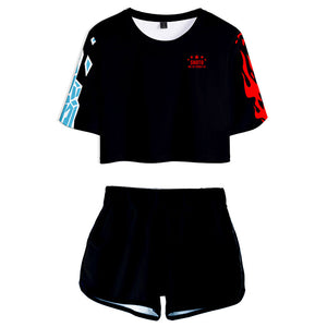 Women My Hero Academia Cosplay Crop Top & Shorts Set Summer 2 Pieces Casual Clothes