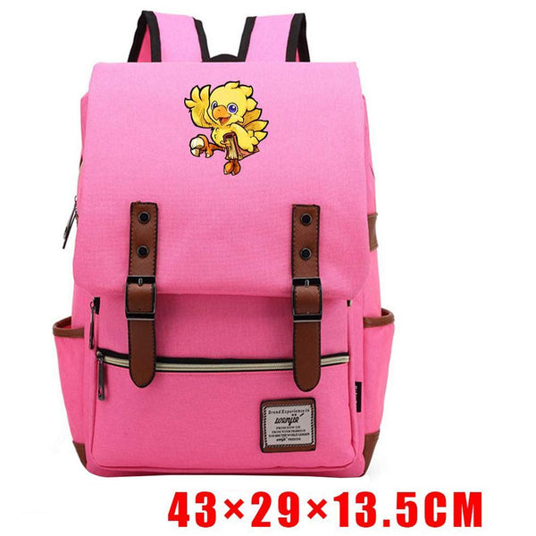 Final Fantasy Chocobo Backpack Blue Pink Teenager Video Game