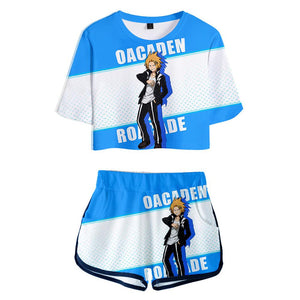 Women Anime My Hero Academia Kaminari Denki Printed Cosplay Crop Top & Shorts Set Summer 2 Pieces Casual Clothes