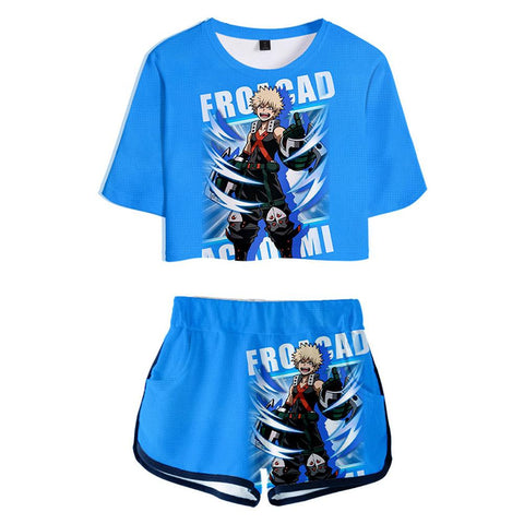 Women Anime My Hero Academia Bakugou Katsuki Printed Cosplay Crop Top & Shorts Set Summer 2 Pieces Casual Clothes