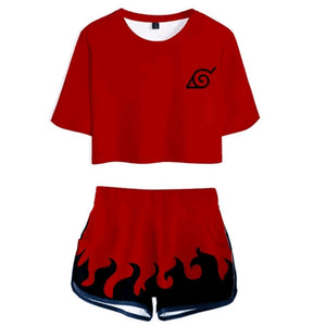 Women Naruto Crop Top Sets Seventh Hokage Cosplay Short Sleeve T-shirt Shorts 2 Pieces Sets Casual Clothes
