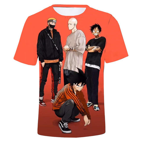Unisex Anime Collection T-shirt Dragon Ball One Piece Naruto Printed Summer O-neck T-shirt Casual Street Shirts
