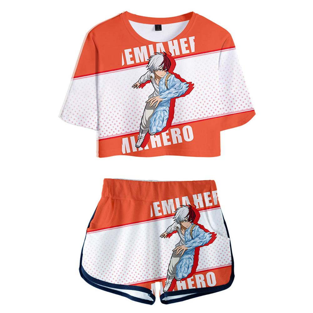 Women Anime My Hero Academia Todoroki Shoto Printed Cosplay Crop Top & Shorts Set Summer 2 Pieces Casual Clothes