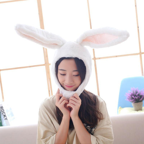 Warm Soft Cozy Plush Fun Easter Bunny Ears Hood Women Costume Hats Christmas Gift