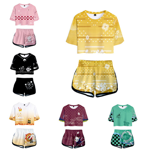 Women Anime Demon Slayer: Kimetsu no Yaiba Cosplay Crop Top & Shorts Set Summer 2 Pieces Casual Clothes