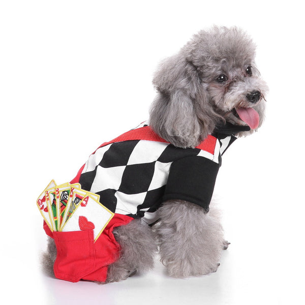 Magician Dog Costume Halloween Pet Poker Magic Clothes for Dog Cat Costume Jumpsuits Jacket Coat Cat Funny Apparel