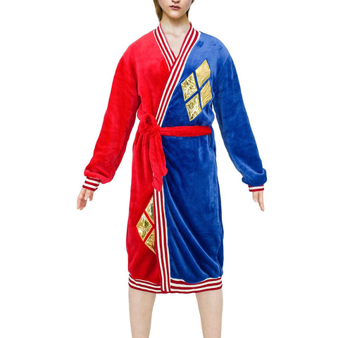 Unisex Suicide Squad Harley Quinn Cosplay Bathrobe Sleepwear Casual Red Blue Knee Length Robe Pajamas