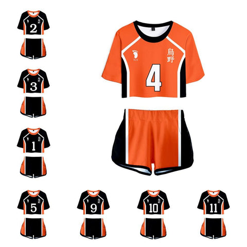 Women Haikyuu!! Karasuno High School Volleyball Club Cosplay Crop Top & Shorts Set Summer 2 Pieces Casual Clothes