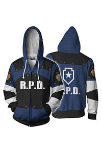 Unisex Leon Scott Kennedy Hoodies Resident Evil Zip Up 3D Print Jacket Sweatshirt